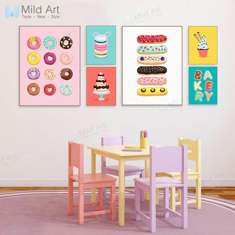 Kawaii Cakes Sweet Doughnut Posters Prints Grils Kids Room Wall Art  Pictures Cafe Kitchen Home Decor Canvas Paintings From Aliceer, $20.27 |  DHgate.Com