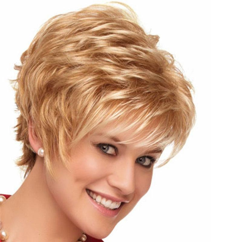 1632b2dc9e0 2018 Hot Sale Beautiful Boy Fashion Cut Short Hair Wigs For Women Straight  Style Synthetic Blonde Wig With Bangs Large Cap Wigs Lace Wigs Front From  ...