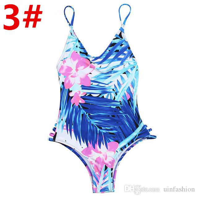 2018 Sexy One Piece Swimsuit Women Swimwear Green Leaf Bodysuit Bandage Cut Out Summer Beach Bathing Suit Swim Monokini Swimsuit