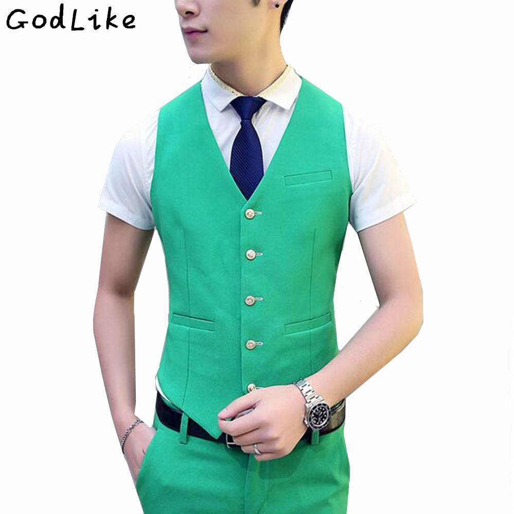 2018 2017 New Male Wedding Suit Vest V Neck Slim Fit Fashion Mens ...