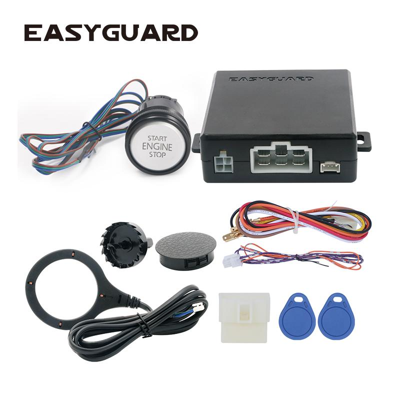 Easyguard RFID car alarm system with smart push start button and valet mode  keyless entry system dc 12v