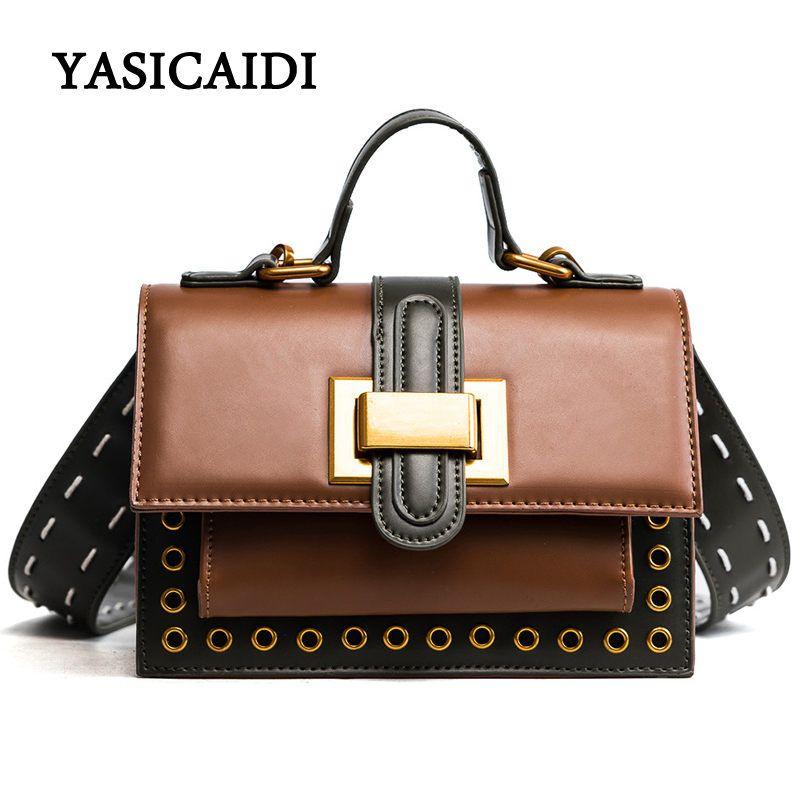 c84195afa3 New Arrive Luxury Women Messenger Bags Rivets Women Crossbody Bag High  Quality Solid PU Leather Handbag Soft Flap Bags Cheap Designer Handbags  Black ...