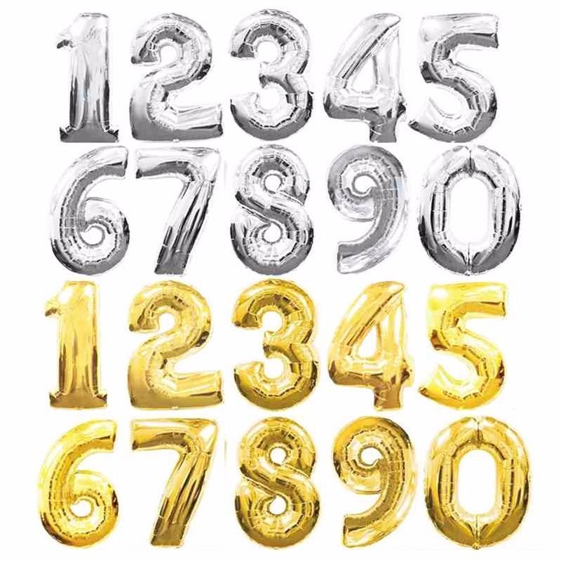 Nouveau 16 pouces En Aluminium Ballons Or Argent Couleur Alphabet Lettres AZ et Arabe Nombre 0-9 Feuille Balloon De Noël Fête D'anniversaire Décoration