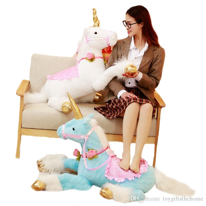 d82578350f5cf 2019 100cm Huge Cute Unicorn Horse Plush Toys Colorful Stuffed Animal Doll  For Kids Children Creative Birthday Gift For Girls From Toygiftsthehome