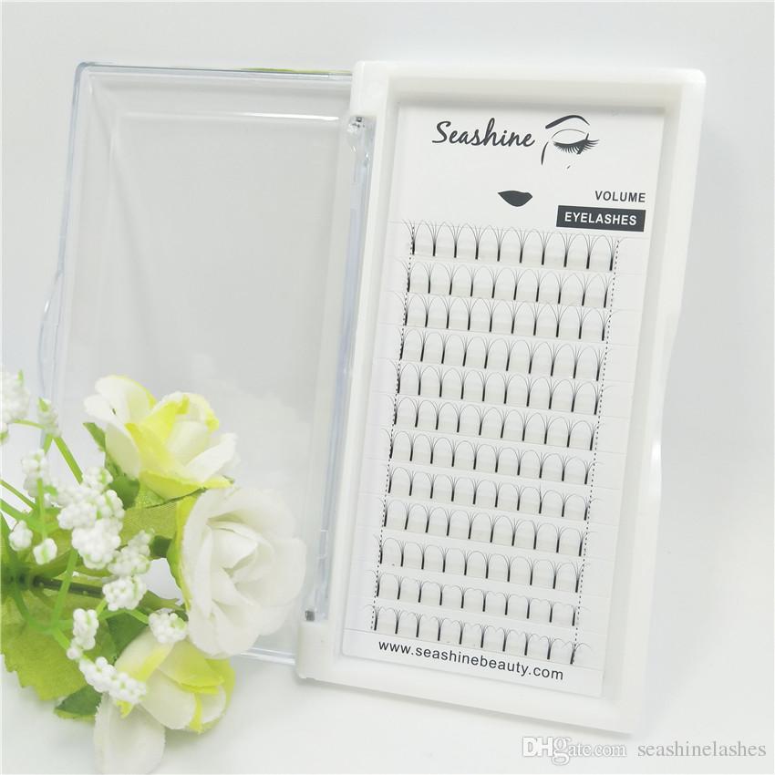 Seashine 4D Volume Fans Extensiones de pestañas por volumen Premade Fans hecho a mano de lujo 4D Lashes 8-15mm 0.07 0.10 grosor de calidad superior
