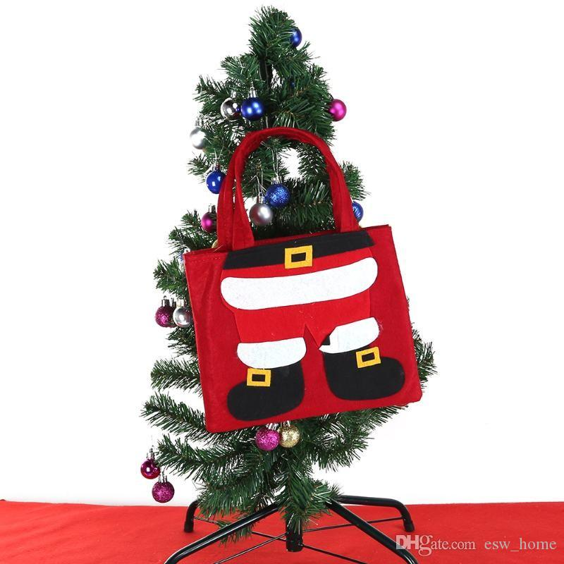 Christmas Tree Bags.Merry Christmas Candy Bags Santa Claus Elf Pants Pocket Snowman Gift Bags Christmas Tree Decor Home Party Xmas Present Holders