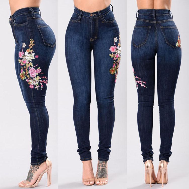 7bb37bbed Womans Denim Pencil Pants Sexy Embroidery Brand Stretch Jeans Ladies ...