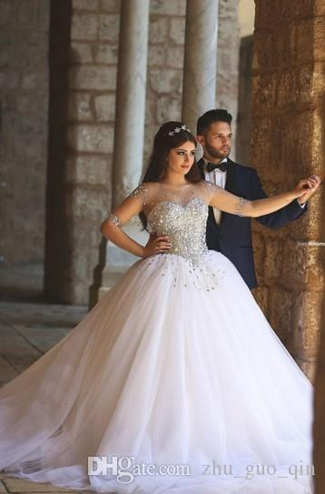 2015 Vintage Long Sleeves Wedding Dresses With Rhinestones Crystals Beaded  Lace Up Back Ball Gown Plus Size Dress Arabic Bridal Gowns Cheap Pink  Wedding ... f6d3d6fcec2b