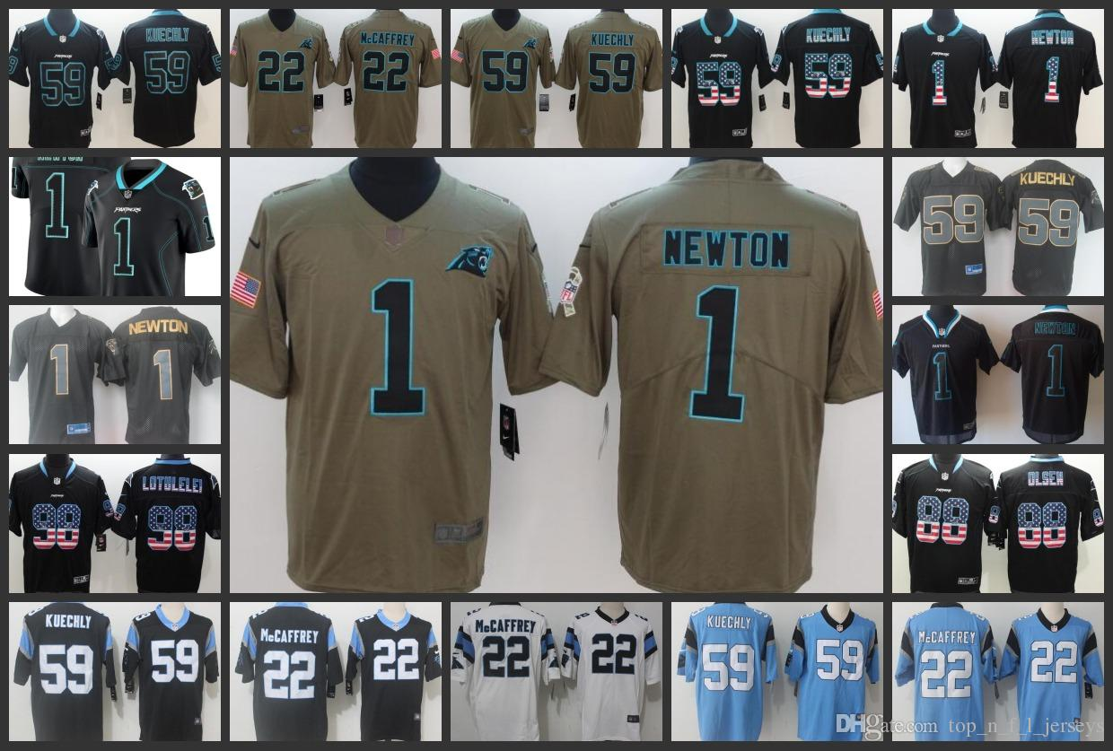 watch d26d2 31cda Carolina Panthers Embroidery Man Jersey #1 Cam Newton 22 Christian  McCaffrey 59 Luke Kuechly 88 Greg Olsen Women Youth Football Jerseys