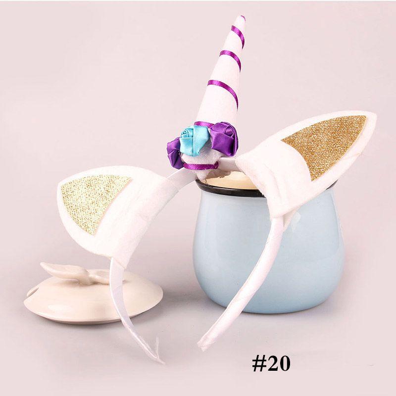 الأزياء يونيكورن عقال حزب اللوازم بنات الشيفون الزهور هيرباند الاطفال تأثيري تاج الأطفال حفلة عيد لطيف آذان القط WX9-405