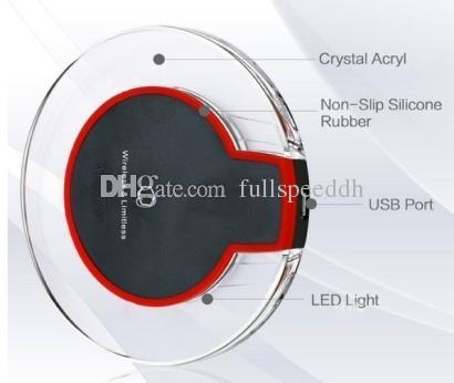 Nouveau chargeur sans fil cristal rond de charge pad avec récepteur pour iphone samsung i00024