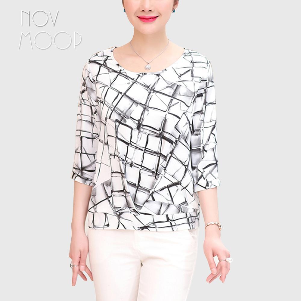 b15e01e2cd730 2019 Summer Ladies Natural Silk Tops And Blouse White Geometric Print Women Plus  Size Shirt Roupa Camisa Blusa Feminina LT2037 From Silan