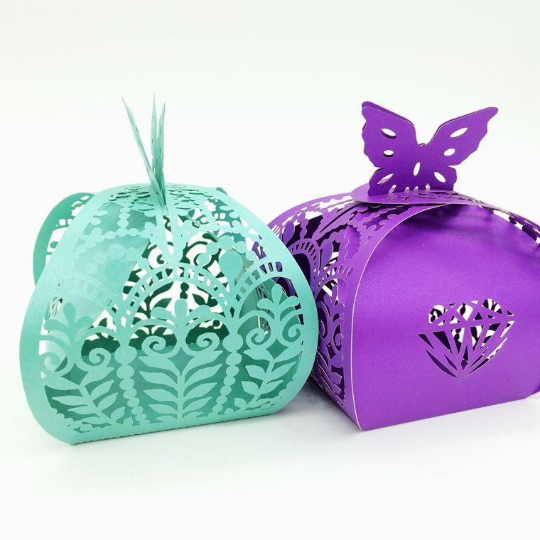 Design-6 100 stücke Laser Cut Hohl Schmetterling Crown Blumen Pralinenschachtel Pralinen Boxen Für Hochzeit Baby Shower Favor Geschenk C341