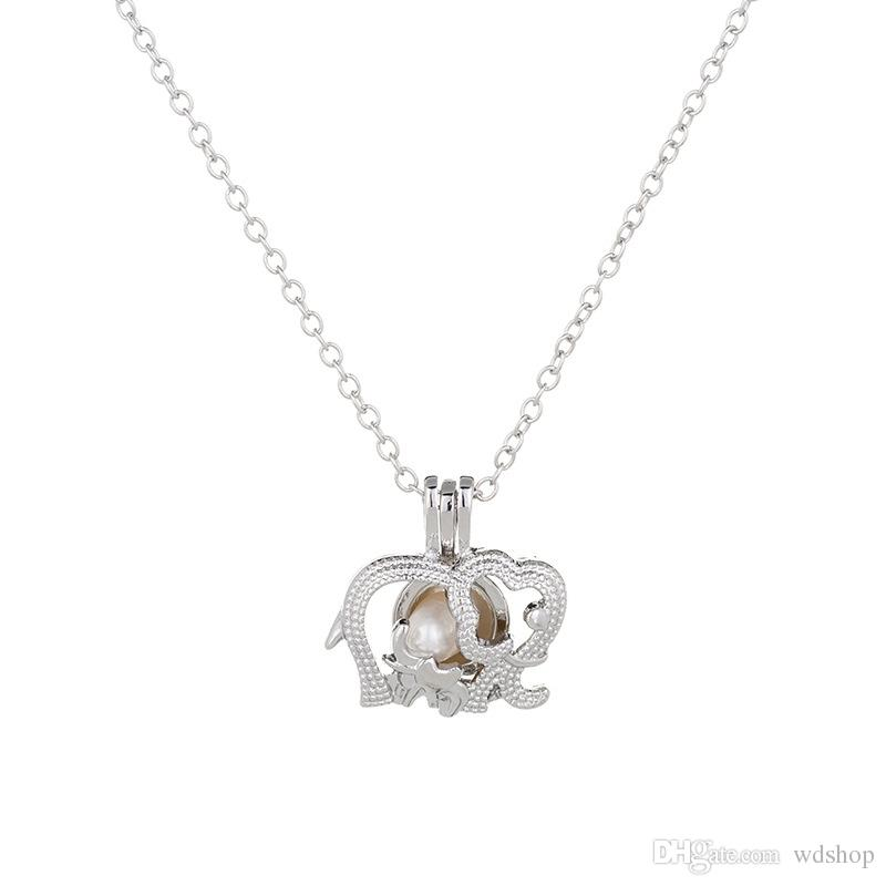 Silver Elephant Pearl Cage Pendant Necklace With Oyster Pearl Beads Fashion Hollow Locket Clavicle Chain Necklace