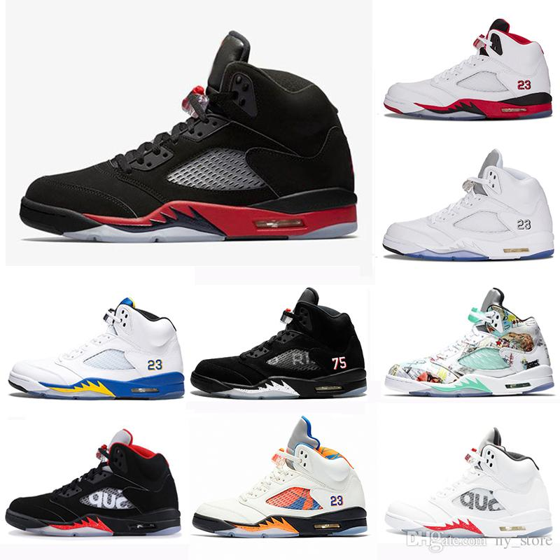 wholesale dealer ede0d 1bf35 SUP Bred 5 wings 5s PSG Black men Basketball Shoes PARIS Laney oreo silver  OG White Grape Space Jam mens sports Sneakers 41-47