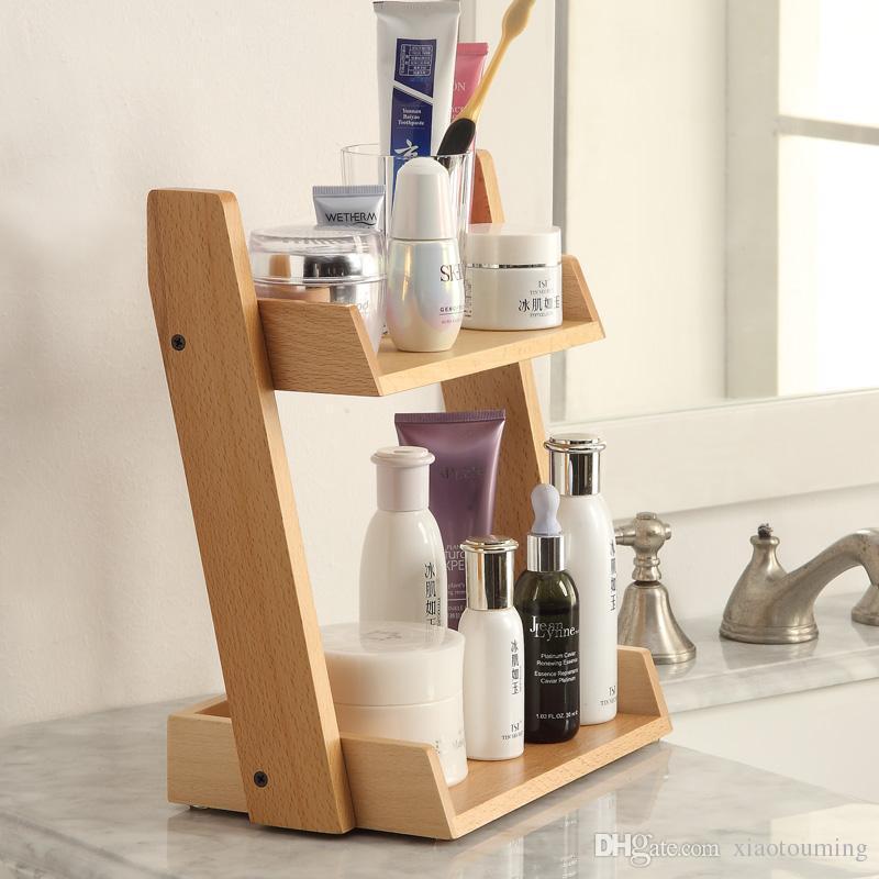 2018 Bathroom Wooden Storage Shelves Cosmetics Shelf Multi Storey ...