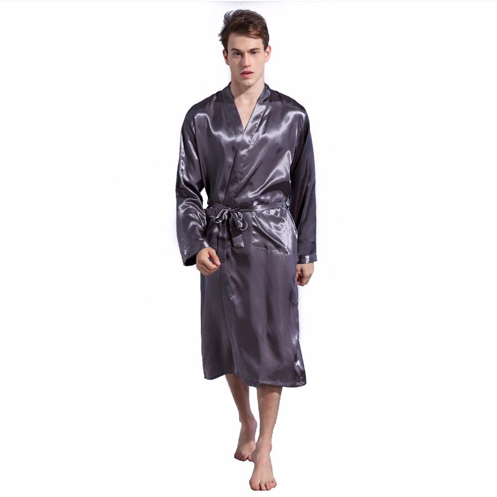 be2d45f5d0 2019 Grey Men s Robes Silk Satin Pajama Sleepwear Long Robes Night Gown  Loose Bathrobes Long Sleeve Pijama Male Sleeping Robe S XXL From Bunnier