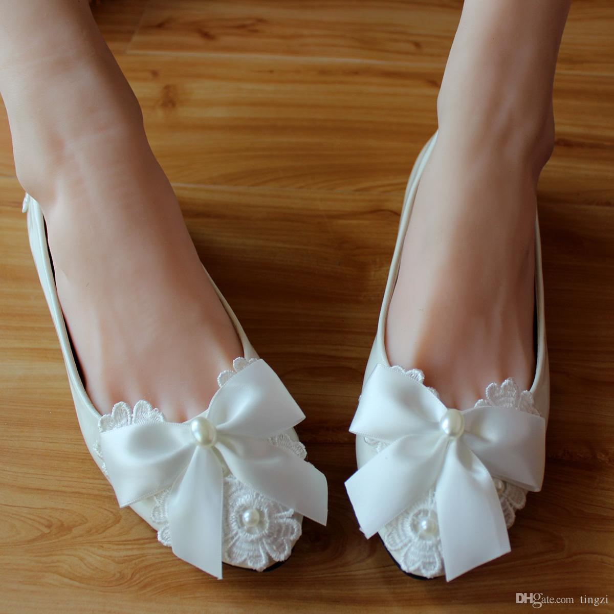 7eb0903d7 White Bow Beading Ankle Strap Round Toe Bridesmaid Shoes Woman Pumps  Wedding Shoes High Heels Bridal Shoes 2018 Nude Shoes Womens Sandals From  Tingzi, ...