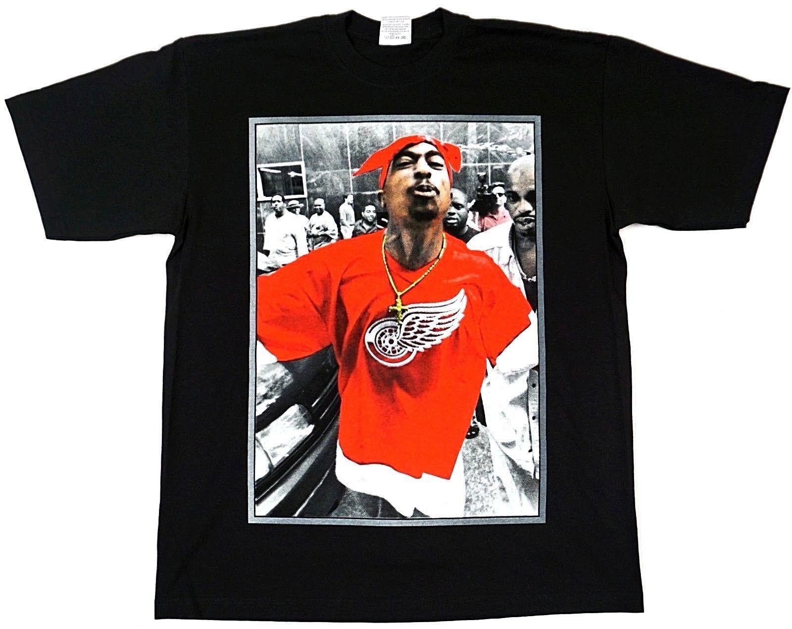 Grosshandel Tupac Shakur T Shirt 2pac Verbrecher Red Wings Urban Hip