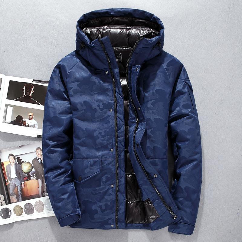 Winter Herren Daunenjacke 90% weiße Ente Daunenjacke dicke Mode männlichen Kapuzen Oberbekleidung Parkas Plus Size Camouflage Jacken