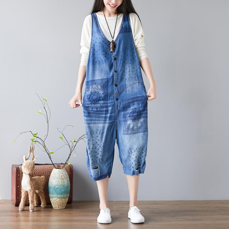 9405b734b5c4 2019 Sleeveless Wide Leg Playsuit Female Baggy Denim Jumpsuits New V Neck  Button Jeans Overalls Ripped Hole Printed Rompers YT097 From Stripe