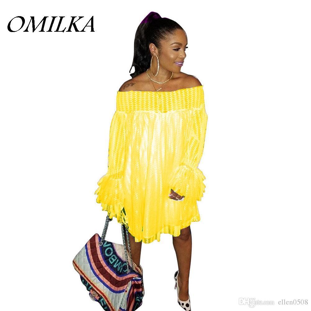 aa958a2399d OMILKA 2018 Summer Women Long Sleeve Off The Shoulder Lace Beach Dress  Casual Loose Plus Size Slash Neck Club Mesh Mini Dress Black Party Dresses  Black ...