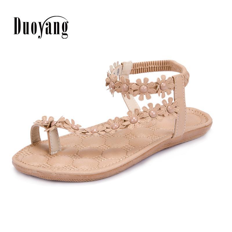 Nuevas Planos Moda Zapatos Rebordear Verano 2017 Sandalias Flor Mujeres Comodidad Llegadas De Mujer rxBCeodW