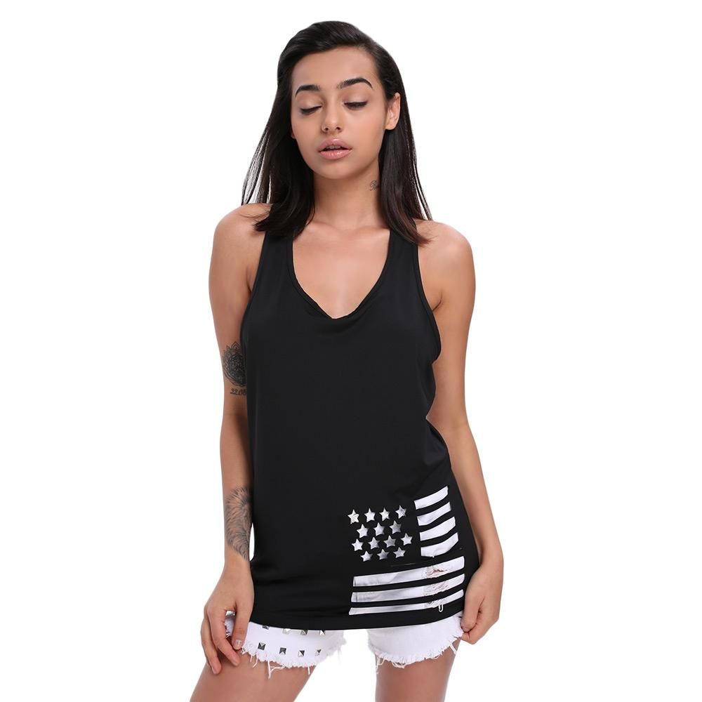 a5e7650fd9aec Summer Sleeveless V Neck Backless Woman T Shirt Hollow Out Five Star Stripe  Shape Stylish Women S Top T Shirt New Funny Printed T Shirts Cool Tee From  ...