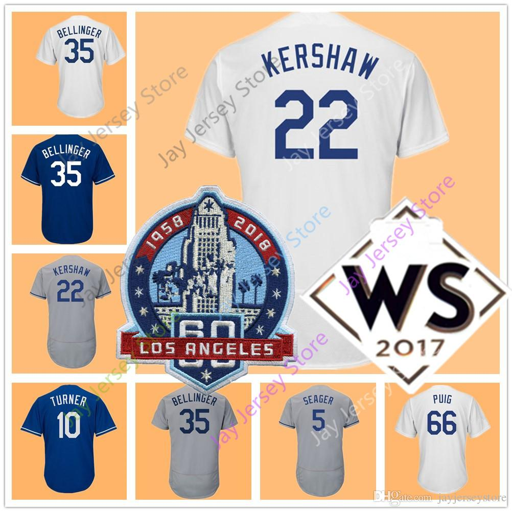 60th Patch Clayton Kershaw Jersey Jackie Robinson Cody Bellinger Corey Seager Justin Turner Chris Taylor Yasiel Puig Men Women Youth Kid