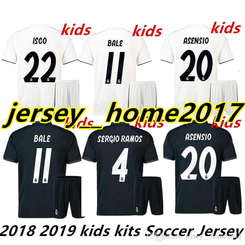 5a28b652f 2018 Kids Kit 2018 2019 Real Madrid Soccer Jersey 18 19 Youth Boy Child  Home Soccer Shirt 2019 Modric Kroos Isco Asensio Bale Football From Jersey  home2017  ...