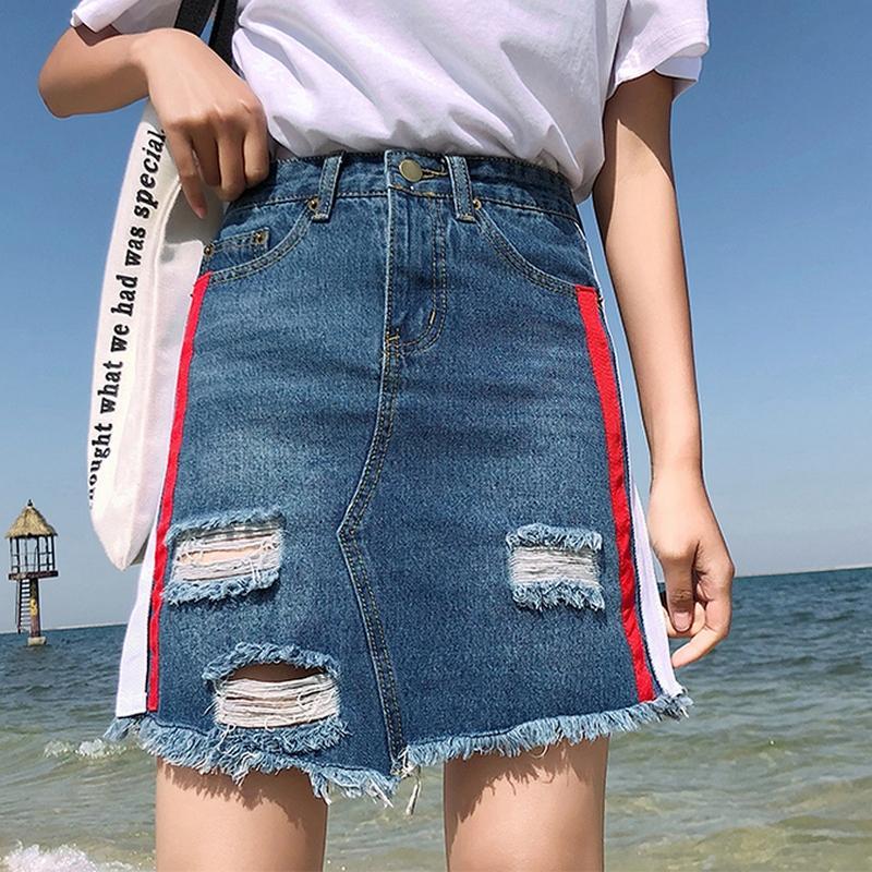 Compre Faldas Ocasionales De Rayas Laterales Mujeres Harajuku Faldas De  Mezclilla De Verano De Cintura Alta Botón De Bolsillo De Patchwork  Desgastado Jeans ... 4af3d6f43279