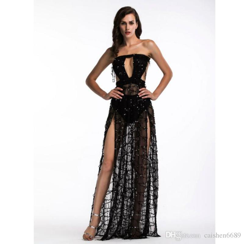 2018 new fashion Tassel sequin dress Strapless Backless kick pleat Elegant Ladies dress women clothing sexy banquet party Dress vestidos