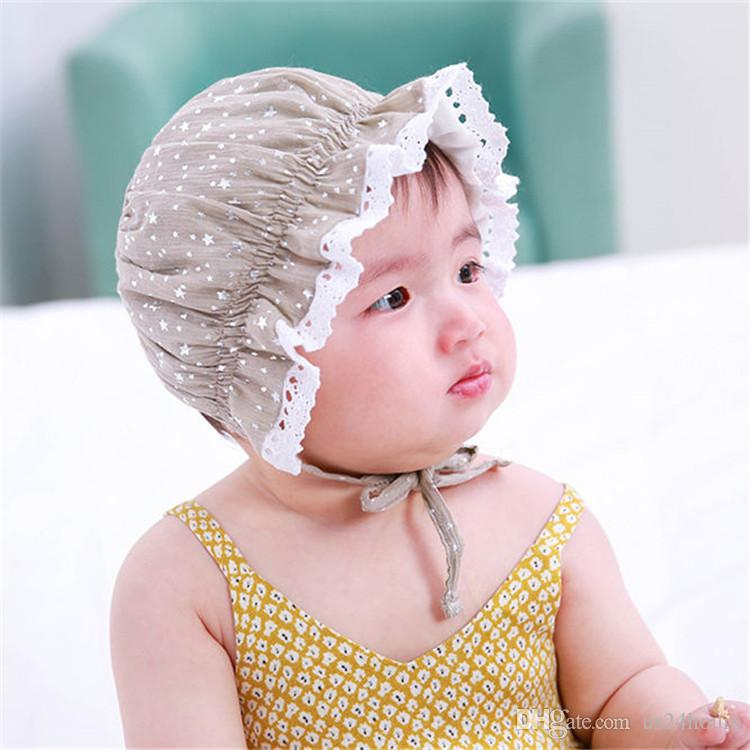 da4f9529bce 2019 Sweet Lovely Cute Princess Cap Children Kids Baby Girls Sun Hat  Cartoon Stars Beanie Lace Floral Caps Vintage Palace Birthday Gift From  Us24hours