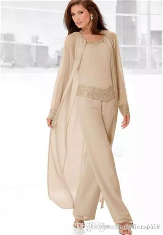 2018 Şampanya Üç Parçalı anne Gelin Pantolon Takım Elbise Uzun Ceketler Uzun Kollu Boncuklu Şifon Anne Artı Boyutu Düğün Konuk Elbise