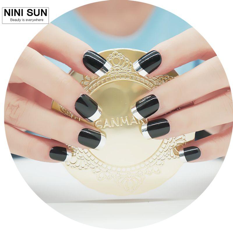Short Metallic False Nails French Silver Nail Art Tips Fashion