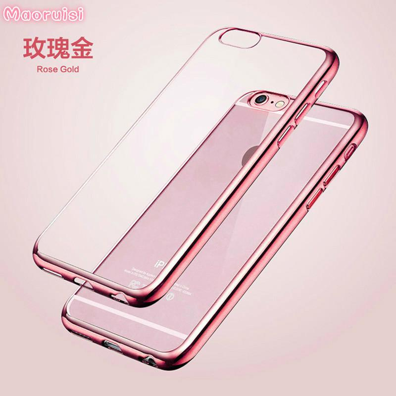 reputable site b0c67 86405 Luxury TPU Rose Gold Plating Crystal Clear Case For iPhone 6 Cases 6 5 5s  6s Plus Clear Silicone Case for iPhone 7 Case Plus P15