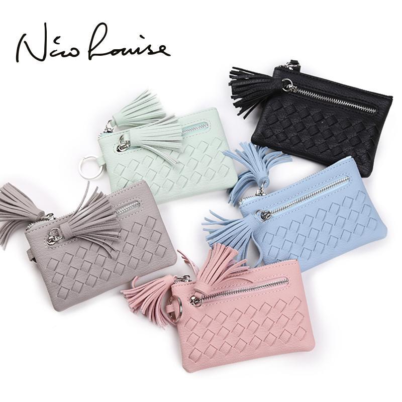 034c0a106cfe Lovely Tassel Weave Leather Women Mini Wallet Girls Zipper Change Pouch Key  Ring Small Purse Money Card Coin Purses Holders Pink