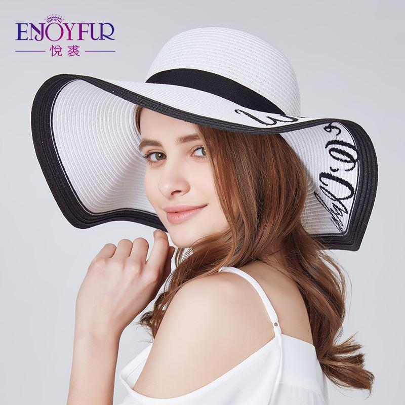 84d15433a0e2a ENJOYFUR Letter Embroidery Beach Hat For Women Big Brim Summer Sun ...