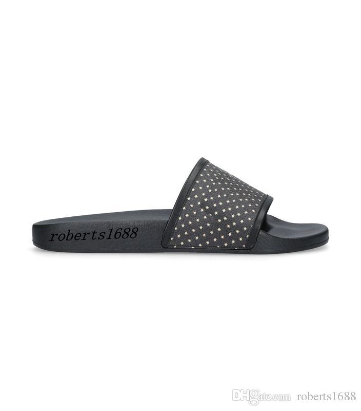 9005fc7893c5c Mens And Womens Fashion Black Leather Trim Rubber Slides Sandals ...