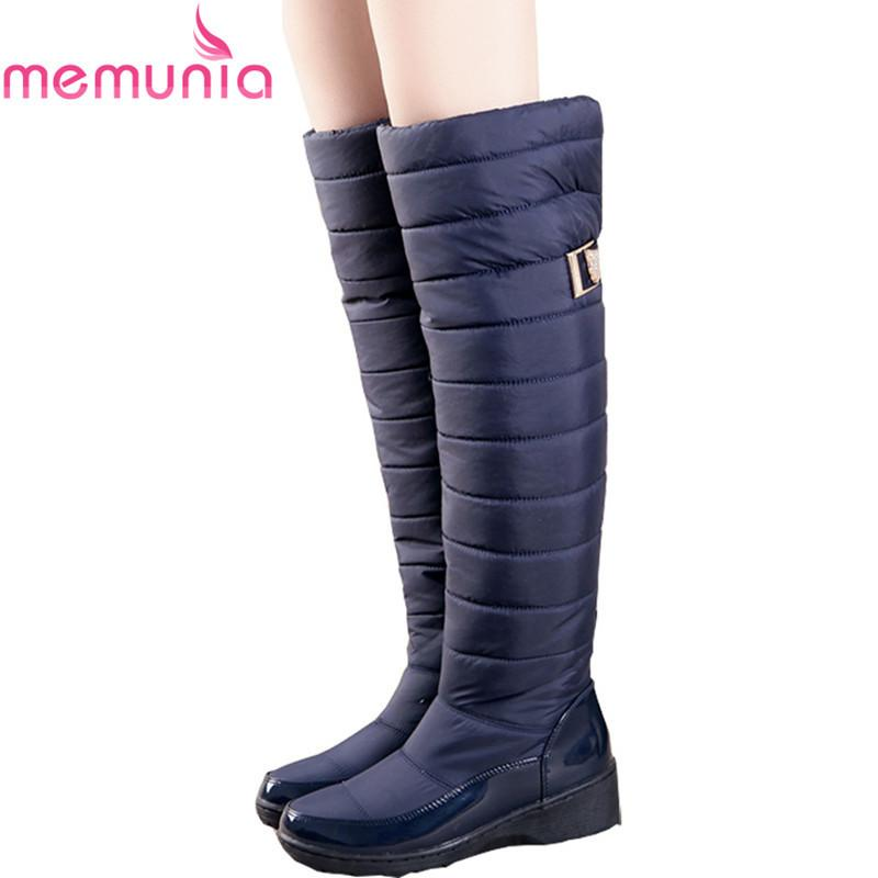 94d434bbb9d3a 2019 MEMUNIA Russia Winter Boots Women Warm Knee High Boots Round Toe Down Fur  Ladies Fashion Thigh Snow Boots Shoes Waterproof Botas Online with   56.0 Pair ...