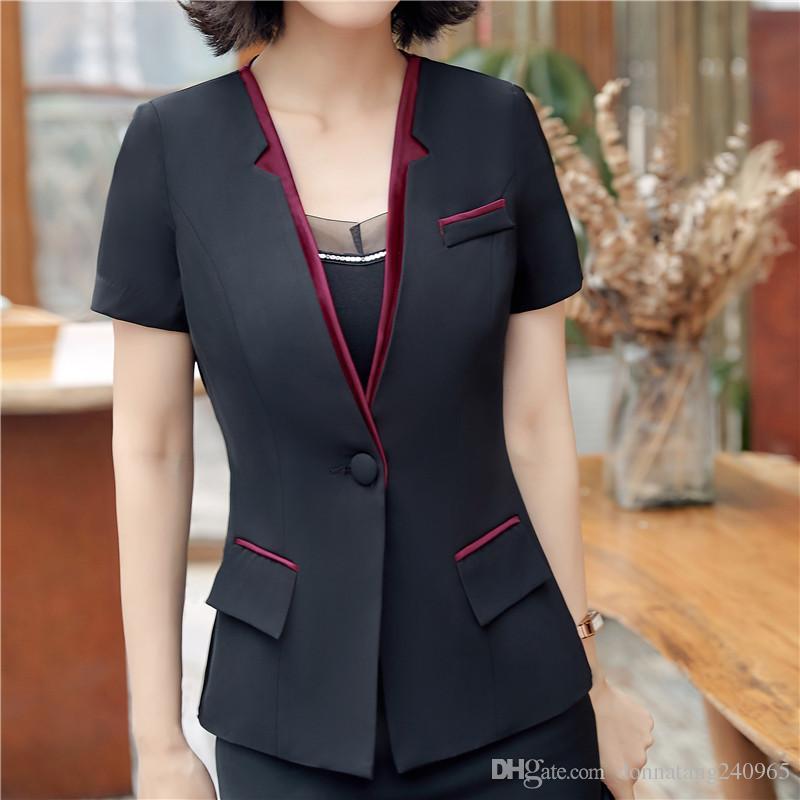 7927c7cc645 2019 Summer Fashion Women Blazer Business New Formal Short Sleeve ...