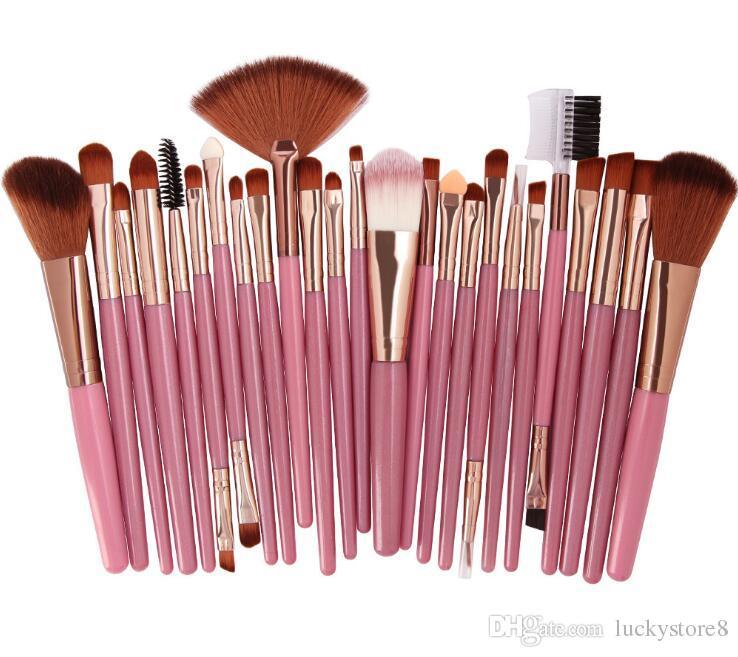 72006b1be8d5 2018 Popular 25pcs Makeup Brushes Set Beauty Foundation Power Blush Eye  Shadow Brow Lash Fan Lip Face Make Up Brushes 9 colors