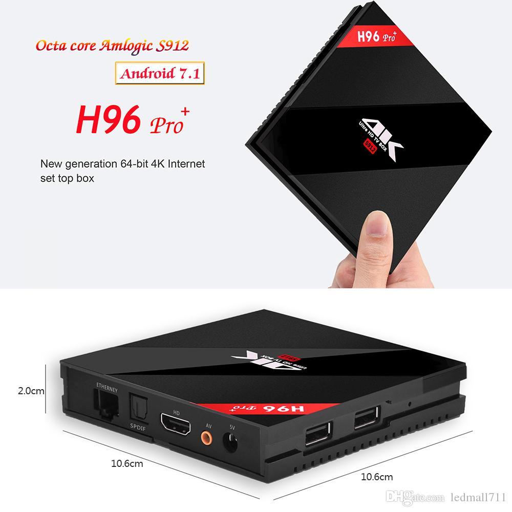 Android 7.1 4K H96 TV Box 3G/32G H96 Pro Plus + Amlogic S912 Octa Core 64Bit 2.4G/5G Wifi Bluetooth 4.1 HD Media Player Set Top Box