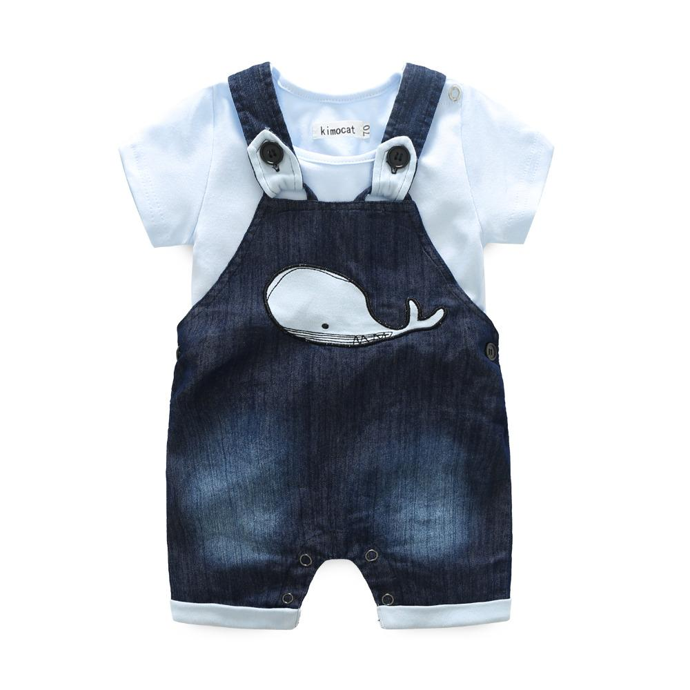 f38849f56 Newborn Clothes Sets Baby Boy Clothing Summer Casual Suit Short Sleeve  Rompers +Cartoon Dolphins Jeans Suspender Shorts 2pcs /Sets