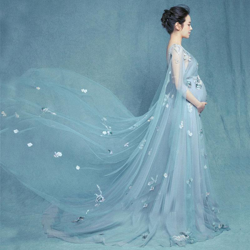 e237fb92c52 2019 Flower Maternity Photography Props Maxi Gown Pregnancy Dresses  Maternity Dresses For Photo Shoot Clothes For Pregnant Women From Paradise02