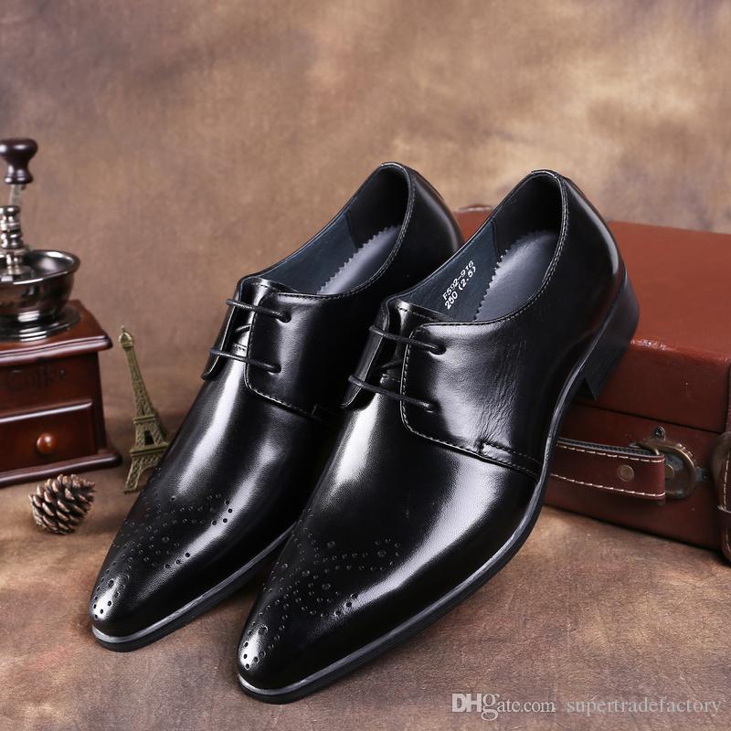 8a061d5951de62 Großhandel Schwarz Tan Neue Herren Schuhe Braun Spitz Business OXTZwkPiu