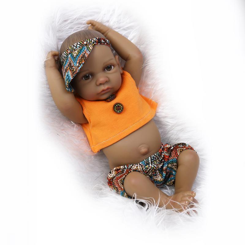 Горячая 10,5 дюймов Американская Кукла Африканский Черная девушка кукла Полный Силиконовый Корпус Bebe Reborn Baby DIY Куклы подарок детям дети играют в дом гаджеты
