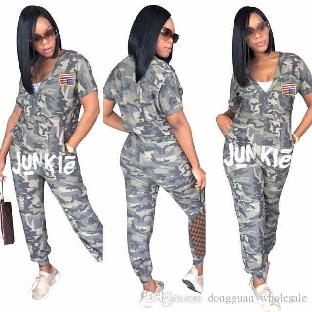 2018 American Jumpsuit Long Pants Women Rompers Camouflage Print