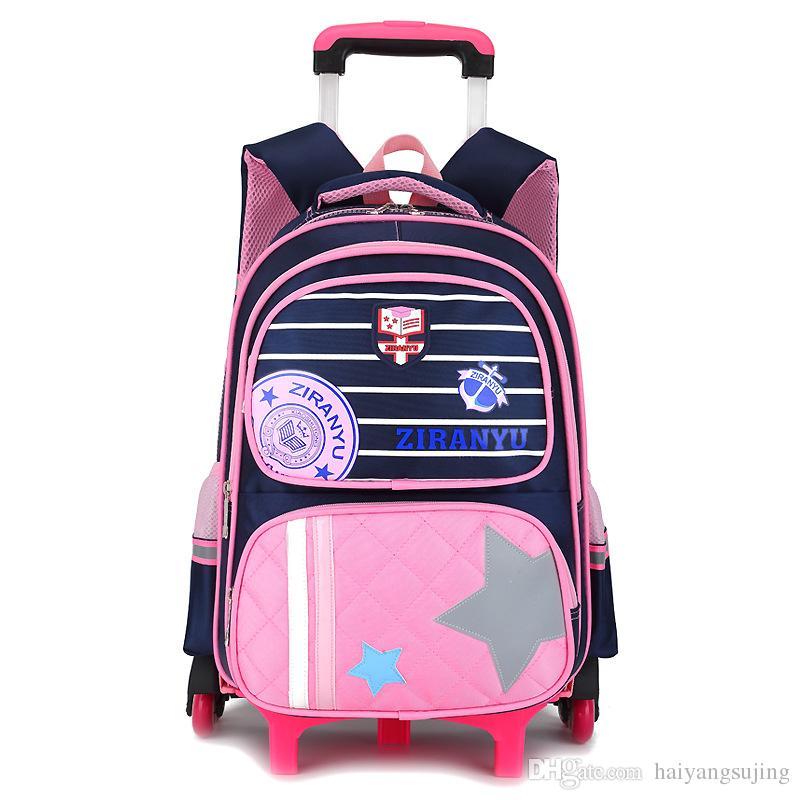 126dc49b67 High Quality Kids Trolley School Bag 6 Wheels Shoulder Backpack Sailor Bags  For Girls Wheeled Children Backpacks Boy Schoolbag Luggage Canada 2019 From  ...