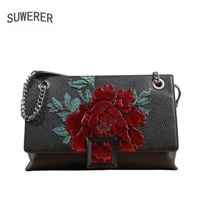 d4d38802f3ef SUWERER 2018 New Genuine Leather Women Bags Handmade Embossing ...